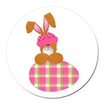 bunny with plaid egg.png Round Car Magnet