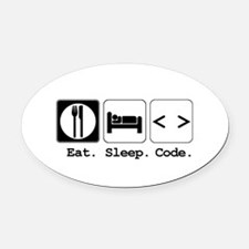 code.png Oval Car Magnet