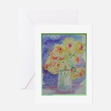 Floral Bouquet! Daffodils in vase! Greeting Card