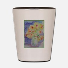 Floral Bouquet! Daffodils in vase! Shot Glass