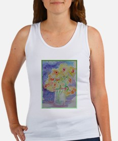 Floral Bouquet! Daffodils in vase! Women's Tank To