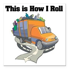 """3-garbage truck.png Square Car Magnet 3"""" x 3"""""""