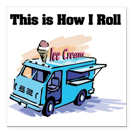 "ice cream truck.png Square Car Magnet 3"" x 3"""