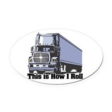 tractor trailer.png Oval Car Magnet