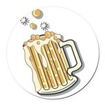 beer.png Round Car Magnet