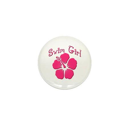 Swim Girl - Dark Pink Mini Button (10 pack)