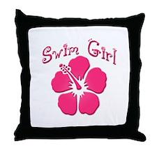 Swim Girl - Dark Pink Throw Pillow