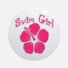 Swim Girl - Dark Pink Ornament (Round)