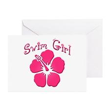 Swim Girl - Dark Pink Greeting Cards (Pk of 10