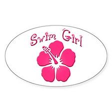 Swim Girl - Dark Pink Oval Decal