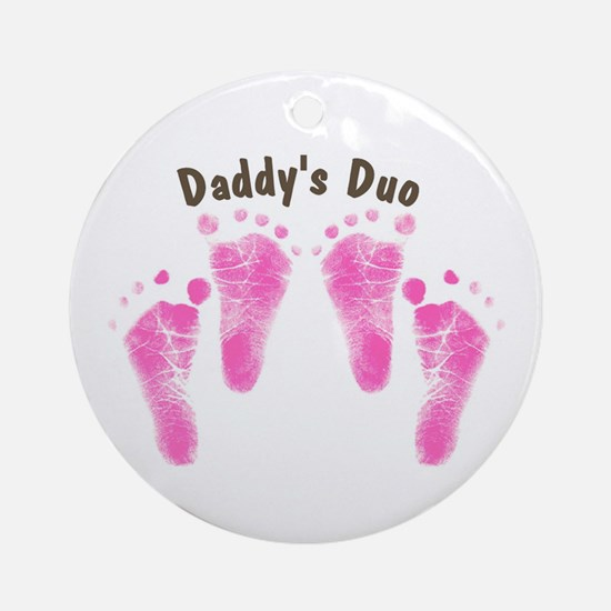 Daddys Duo Twin Girls Ornament (Round)