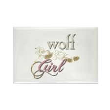 Wolf Girl Sparkly Rectangle Magnet