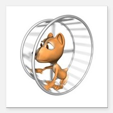 "hamster in wheel copy.jpg Square Car Magnet 3"" x 3"