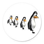 penguin parade copy.jpg Round Car Magnet