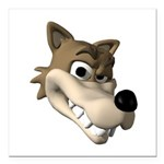 wolf smiling copy.jpg Square Car Magnet 3