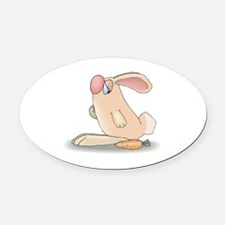 cute pink bunny and carrot copy.jpg Oval Car Magne