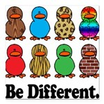 Be Different Ducks.png Square Car Magnet 3