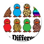 Be Different Ducks.png Round Car Magnet