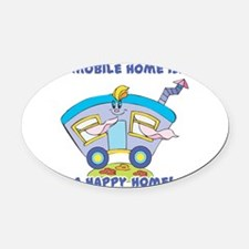 happy home.png Oval Car Magnet