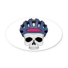 cycling skull copy.jpg Oval Car Magnet
