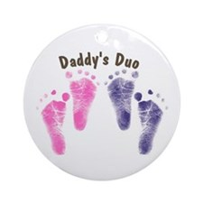 Daddy Duo Twins - A boy and a Gril Ornament (Round