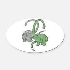 two dinosaurs copy.jpg Oval Car Magnet