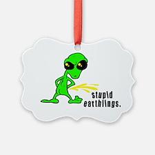 alien peeing copy.jpg Ornament