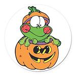 frog in pumpkin copy.png Round Car Magnet