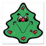 cute happy christmas tree.png Square Car Magnet 3