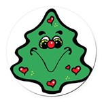 cute happy christmas tree.png Round Car Magnet