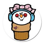 cute little girl snow cone.png Round Car Magnet