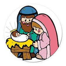 cute nativity scene.png Round Car Magnet