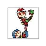 cute playful christmas elves.png Square Sticker 3
