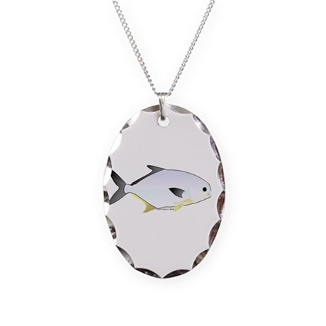 Pompano fish Necklace Oval Charm