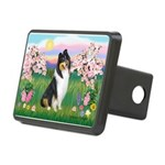 Blossoms / Collie (tri) Rectangular Hitch Cover