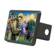 St Francis Black Lab Rectangular Hitch Cover