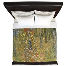 Farm Garden with Crucifix by Klimt King Duvet