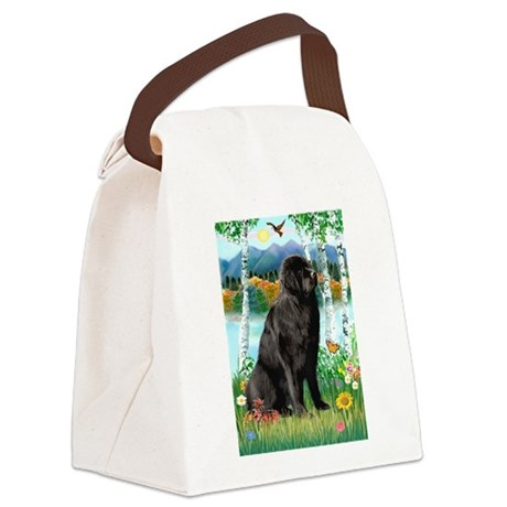 Newfie in the Birches Canvas Lunch Bag