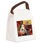Santa's 2 Pekingese Canvas Lunch Bag