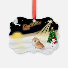 Night Flight/Pomeranian #2 Ornament