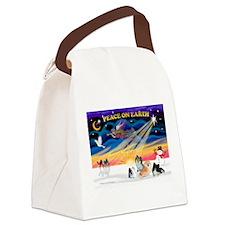 XmasSunrise/4 Pomeranians Canvas Lunch Bag