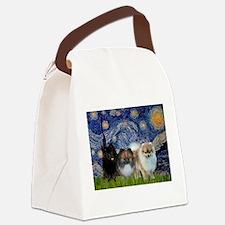Starry/3 Pomeranians Canvas Lunch Bag