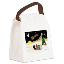Night Flight/4 Poodles Canvas Lunch Bag