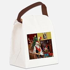 Santa's Poodle Trio Canvas Lunch Bag