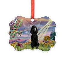 Cloud Angel Black Poodle (ST) Ornament
