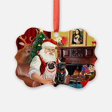 Santa's Two Pugs (P1) Ornament