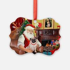 Santa's fawn Pug (#21) Ornament