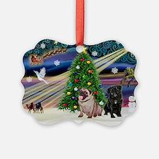 X Mas Magic & Pug Pair Ornament
