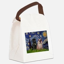 Starry Night Pug Pair Canvas Lunch Bag