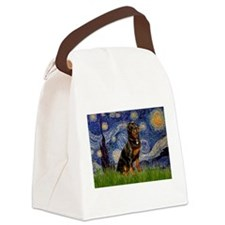 Starry Night & Rottweiler Canvas Lunch Bag